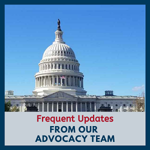 Image of U.S. Capitol Building with text Frequent Updates from our Advocacy Team