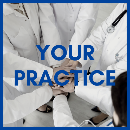Image of White Coats in a Huddle: Text Your Practice
